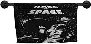 xixiBO Decorative Towel W 28 x L 14(inch) Water Absorption Multi-Purpose,Astronaut,The Race to Space Retro Image with Space Crafts Planets Astronaut vs Cosmonauts,Black White
