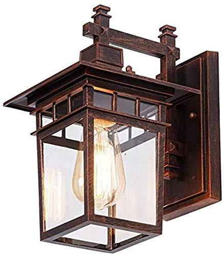 Lámpara de pared retro al aire libre lámpara de exterior de bronce rojo con interruptor crepuscular lámpara de pared de aluminio y vidrio impermeable lámpara de balcón lámpara de jardín