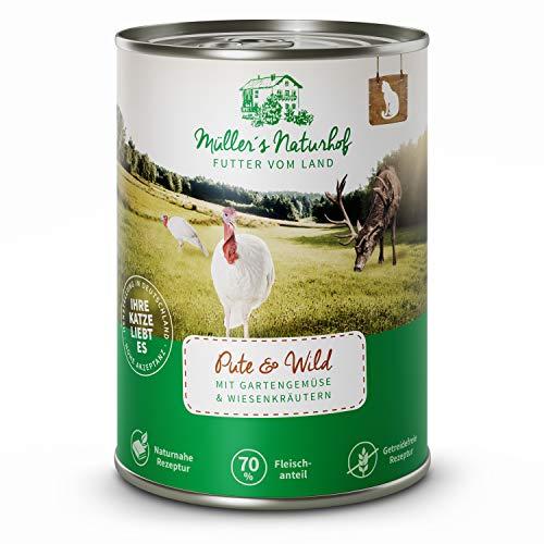 Müllers Naturhof | Nassfutter für Katzen | naturnahe Rezeptur | Wild & Pute | 6 x 400 g | getreidefrei | 70% Fleischanteil | ohne Tierversuche, Zucker, Farb-, Aroma-, & Konservierungsstoffe