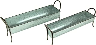 Metal Planters Galvanized Metal Farmhouse Standing Chicken Feeder Planter Set of 2 22.5 X 9.25 X 6.5 Inches Silver