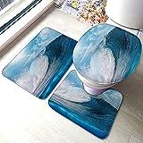 FFLSDR Juego de alfombras de baño Blue Ocaen Seascape,...