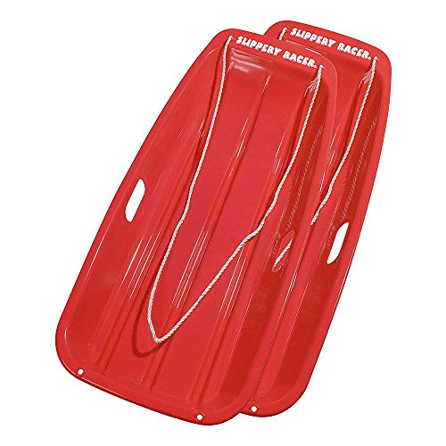 Slippery Racer Downhill Sprinter Flexible Plastic Winter Toboggan Snow Sled with Pull Rope for 1 Adult or Kid Rider, Red (2 Pack)