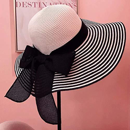 YWSZJ Tapa Plegable para la Tapa de la Solapa del Verano del ala Ancha de Sunhat con el cordón de la Cubierta del Cuello para Las Mujeres