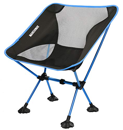 MARCHWAY Ultralight Folding Camping Chair with Anti-Sinking Wide Feet, Portable Compact for Outdoor Camp, Beach, Travel, Picnic, Hiking, Lightweight Backpacking (Sky Blue)