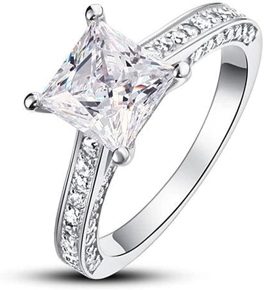 Moissanite Engagement Rings Engagement Rings For Women 1 Carat White Gold Free Engraved Halo Princess Cut 10K 14K 18K