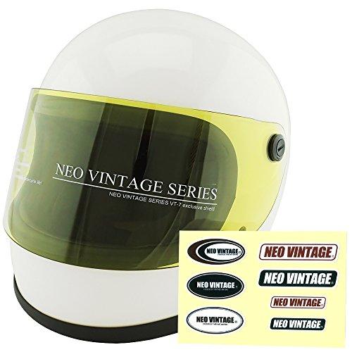 NEO VINTAGE レトロ族ヘルタイプ フルフェイス SG規格品 ステッカー付 [ホワイト×イエローシールド 白 Lサイズ:59-60cm対応] VT-7 バイクヘルメット