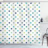 SanJIUCOM 72x72inch Polkadot Duschvorhang, Polka Dots Classy Style Muster Design Layout, Stoff Stoff Bad Set mit Haken, Türkis