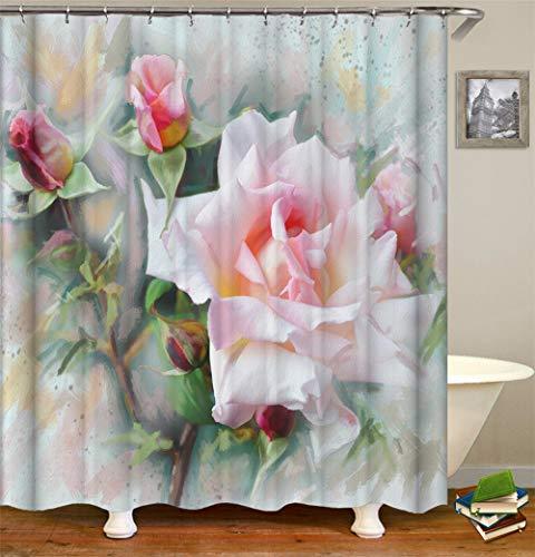 ZZZdz schilderij. Rosas douchegordijn. 180 x 180 cm. 12 vrije haken. Decoratie voor in huis. 3D-HD-druk. Makkelijk schoon te maken. Badkameraccessoires.