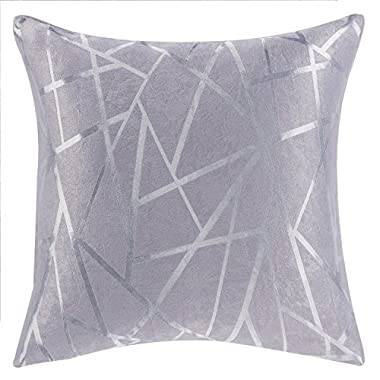 MICHELE HOME FASHION Modern Style Grey Striped Polyester Geometric Decorative Pillow Cover beige/grey/purple Pillow Covers (18 X18)