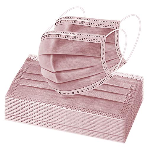 Dusty Rose 50 Pcs Disposable Face Masks, Facial Mouth Cover, 3 Ply Filter Protectors with Elastic Earloops Breathable Non-woven