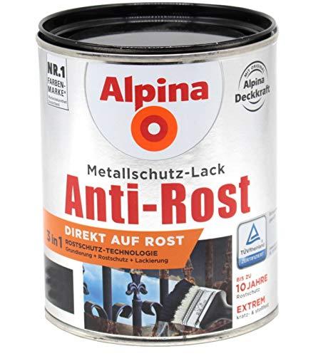 Alpina 3in1 Metallschutzlack 1L Direkt auf Rost (dunkelgrau hammerschlag)
