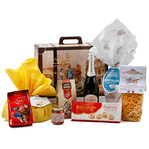 Cesto Pasquale Alimentare Speciale Italia - Confezione Pasquale Regalo di Gastronomia Dolce Viaggio di Pasqua, Confezione Regalo Pasqua con Prodotti Artigianali Italiani, 8 pezzi