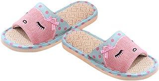 Women's Linen Slippers, Summer Open-Toe Wooden Floor Slippers Linen Sweat-Absorbing Skin-Friendly Antibacterial Sandals