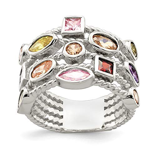 925 Sterling Silver Multi Color Shaped Gem 5 Strand Band Ring Size 7.00 Fine Jewelry For Women Gifts For Her