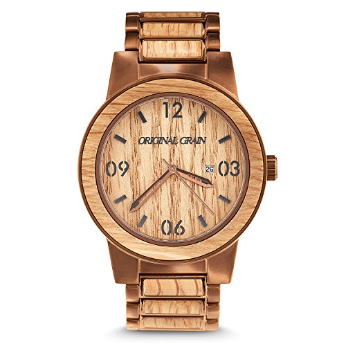 Original Grain Whiskey Barrel Wood Watch - Barrel Collection Analog Wrist Watch - Japanese Quartz Movement - Wood and Stainless Steel - Water Resistant - American Oak Wood Watches for Men - 47MM