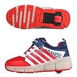 JUNJUN Zapatos con Ruedas Zapatos para Niños con Luces Vibración De Una Sola Rueda Led De Moda Deportes De Ocio(Size:35EU,Color:Rojo)