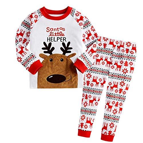 Akaddy 2pcs Weihnachten Baby Mädchen Jungen Kleidung Set Langarm Tops Hosen (3-4Y)