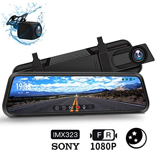 """DuDuBell Dashcam Autokamera 10\""""-IPS-Touchscreen-Rückspiegelkamera, Dual Dashcam (1080P + 1080P, 310 ° Weitwinkel) mit Nachtsicht bei Sternenlicht HDR Plus, IP68 wasserdichte Rückfahrkamera"""