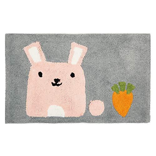 Hi Space Non Slip Kids Bath Mat,Soft Shag Cute Rabbit Bath Rug for Bathroom,Machine Washable Water Absorbent Microfiber Rugs,20