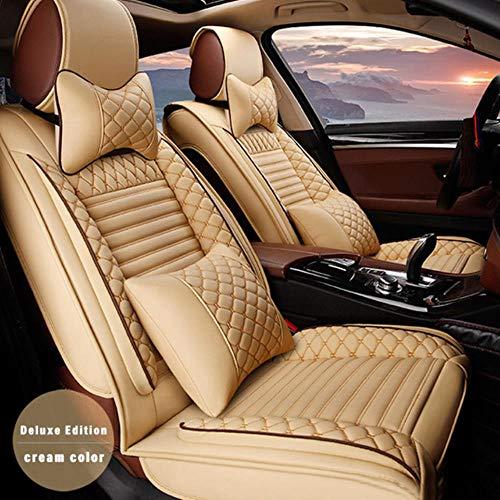 XIARI Funda De Asiento De Coche Universal para Audi A3 8P 8L Sportback Q7 2007 Q5 A4 B7 Avant A6 C5 Accesorios De Coche-Almohada De Color Crema