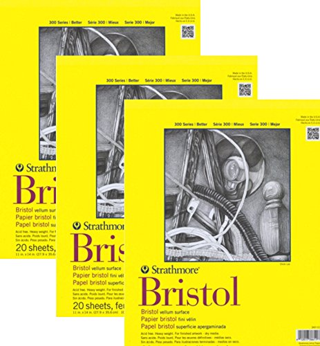 Strathmore 11-Inch by 14-Inch Bristol Smooth Paper Pad 20-Sheet 2 Pack