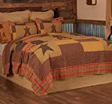 VHC Brands Stratton California King Quilt 130Wx115L Primitive Country Patchwork Design, Tan and Red-Orange
