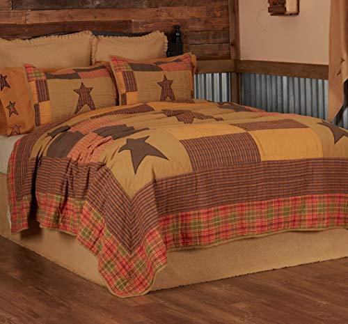 VHC Brands Primitive Bedding Sutton Cotton Pre-Washed Appliqued Star Twin Quilt, Dark Khaki Tan