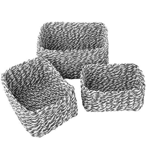 La Jolíe Muse Cesta almacenaje, Juego de Cajas de almacenaje, Cesta Toallas baño, cestas organizadoras baño, Caja de Almacenamiento de Cuerda de Papel Reciclado, Gris, Set 3