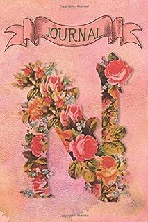 N Journal: Vintage Floral Journal - personalized monogram initial N - blank lined diary notebook