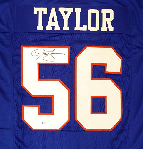 New York Giants Lawrence Taylor Autographed Blue Jersey Beckett BAS Stock #181095