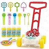 JoyGrow Cortacésped automático de pompas de jabón para niños, con sonido, juguete para fiestas al aire libre, con 4 botellas de solución y 11 varitas mágicas