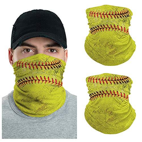 VTH GLOBAL Pack 2 Funny 3D Design Print Neck Gaiter Bandana Balaclava for Men Women Summer Dust Protection (3D Softball)
