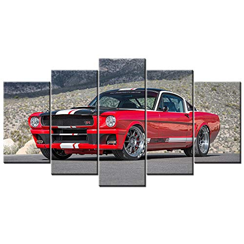 qggbgv Decoración del hogar 5 Piezas Lienzo Pintura Pared Arte póster Imagen ModularMustang Muscle Cars sin Marco para Fondo de cabecera