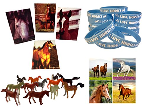Horse Party Favor Supplies 60 Piece Bundle for Horse Themed Birthdays, Cowboy/Cowgirl, & Farm Parties (12 Horse Wristbands, 12 Horse Mini Note Pads, 12 Mini Plastic Toy Horses, 24 Horse Stickers)