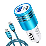 Fast Charger PD Car Charger Block 18W Car Plug+USB C to C Fast Charging Cable for Samsung Galaxy S21+ S21 Ultra S20+ S20 Plus/Note 21 20 10 S10 S10E A20 A50 A10E A21 A51 A70 A71 A01 A11 S9 S10+ A32 S8