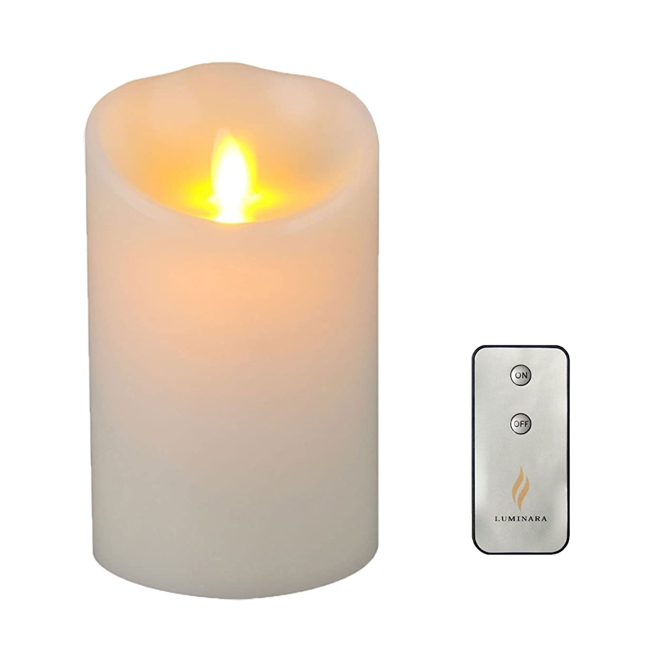 Flameless Candle Dancing Wick Pillar LED Candle with Remote & Timer, 3.5-Inch by 5-Inch , Ivory