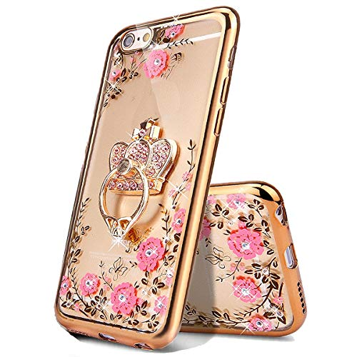 Miagon Glitzer Durchsichtig Transparent Blumen Schmetterling Galvanik Silikon Hülle mit 360 Grad Diamant Ring Ständer Strass Schutzhülle für Huawei P20