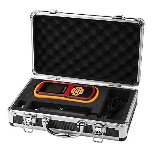 Digital Schwingungsmessgerät, GM63B Tragbares Hochpräzisions Ultraschall Vibrometer mit LCD Display Analysator-Temperaturmessgerät mit Sonde 0-40 ℃