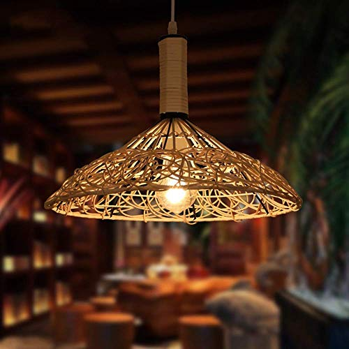 Lámpara colgante de bambú droplight de la lámpara retro nostálgico Loft de techo de madera Sala comedor Balcón decoración colgante Luz ANGANG
