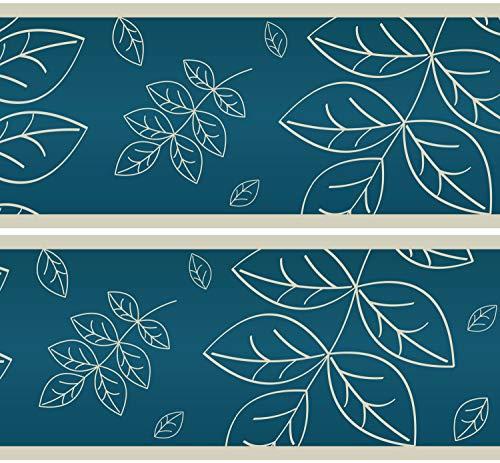 Selbstklebende Bordüre Blätter Herbarium, 4-teilig 560x15cm, Tapetenbordüre, Wandbordüre, Borte, Wanddeko,Natur, türkis