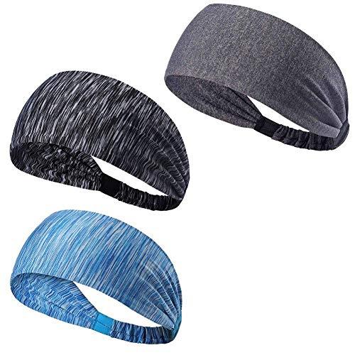 Jingyuu scrunchie elastique cheveux Bandeau de sport anti-transpirant Rayé bleu rayé gris gris clair headband Fil de nylon 24 x 8 cm