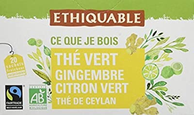 Ethiquable Thé Vert Gingembre Citron Vert Ceylan Bio et Équitable 20 Sachets Max Havelaar parent