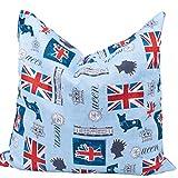 HERBALIND Kirschkernkissen Cherry LONDON Kinder Wärmekissen medizinisch zugelassen - Öko-Tex 100 Zertifikat Kirschkern-Kissen mit ca 550g Kirschkerne für Mikrowelle, Blau Union Jack 24x25 cm groß