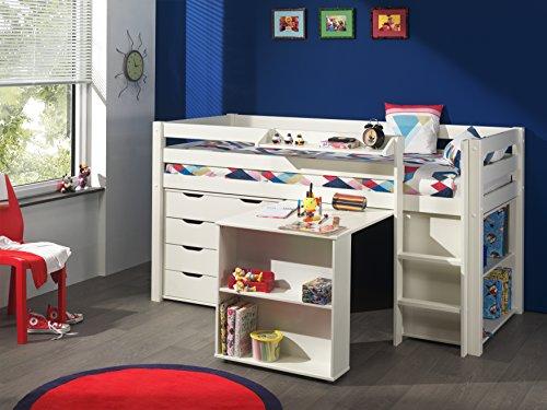 Vipack 'Autobett picohsbubiks14Pino Hochbett mit Schreibtisch/Bücherregal und Kommode 4Schubladen Kiefer massiv weiß