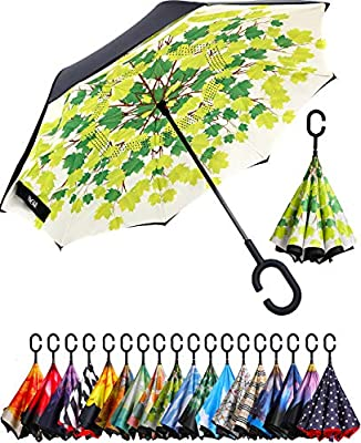 BAGAIL Double Layer Inverted Umbrella Reverse Folding Umbrellas Windproof UV Protection Big Straight Umbrella for Car Rain Outdoor with C-Shaped Handle (Green Shade)