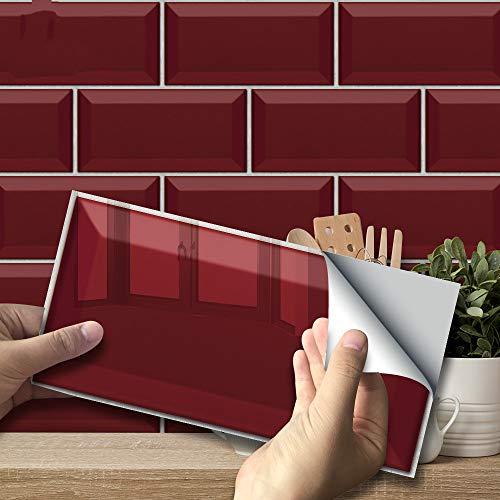 Ruby Badezimmer Küche Backstein Muster Fliesen Aufkleber Öldicht Hochtemperaturbeständigkeit Wandaufkleber
