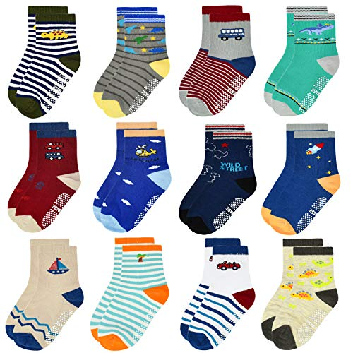 ELUTONG Kleinkind Jungen ABS Rutschfeste Socken - 12 Paar Baby Socken Anti-Rutsch Antirutsch Kinder Kleinkinder Babysocken für 1-3 Jahre Baby Jungen & Mädchen