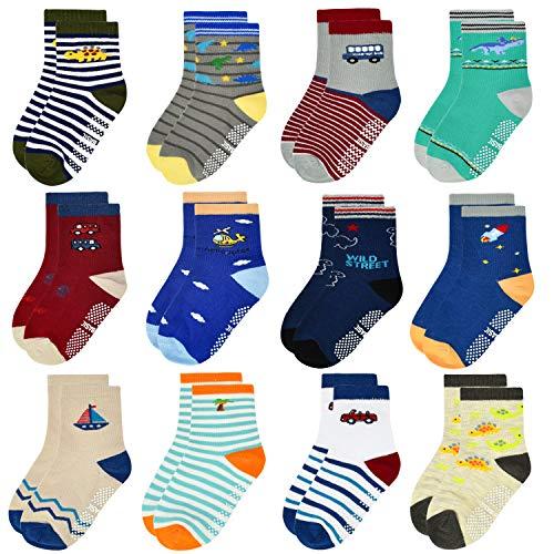 ELUTONG Kleinkind Jungen ABS Rutschfeste Socken - 12 Paar Baby Socken Anti-Rutsch Antirutsch Kinder Kleinkinder Babysocken für 1-3 Jahre Baby Jungen und Mädchen