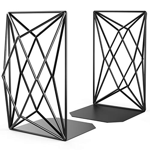MaxGear Decorative Bookends, Large Size Book Ends, Book Holder for Shelves, Geometric Design Book End, Heavy Duty Mental Bookend for Home, Office and Coffee,Black Book Stopper