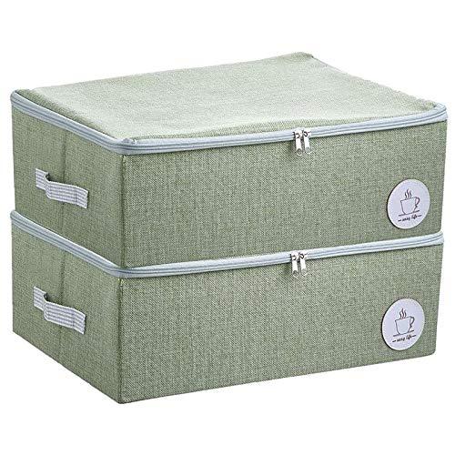 Bolsa de Almacenamiento, Cajas Almacenaje Ropa 2 Pcs, Organizador Debajo de la Cama de Gran Capacidad con Cremallera Robusta(verde)
